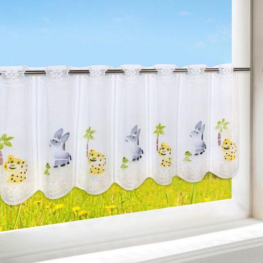 Scheibengardine »HAPPY ANIMALS«, Delindo Lifestyle, Stangendurchzug (1 Stück), mit Stangendurchzug, für die Küche
