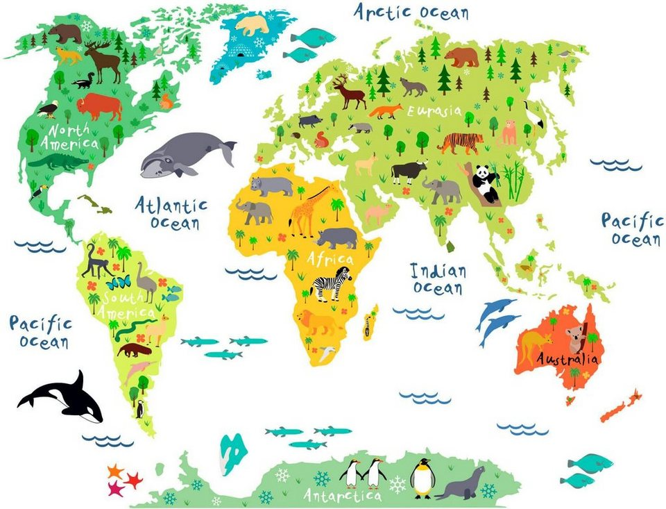 Wandtattoo Tierische Weltkarte Schone Wanddekoration Online Kaufen Otto