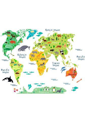 Sienos lipdukai »tierische Weltkarte«