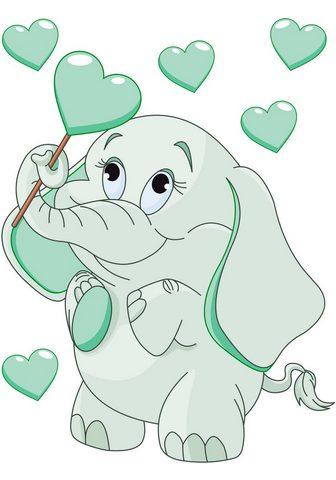 Sienos lipdukai »Elefantenbaby su Herz...