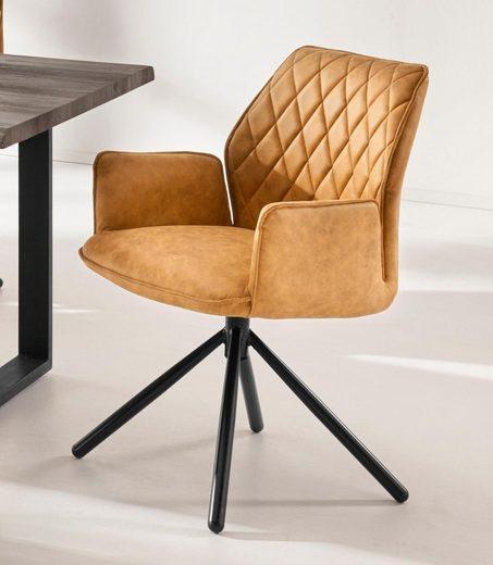INOSIGN Polsterstuhl »Preston« mit weichem Kunstlederbezug und schwarzen pulverbeschichteten Metallbeinen, Sitzhöhe 48 cm (2er Set)