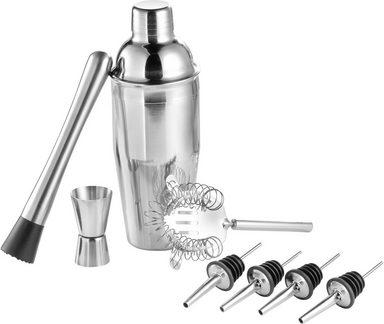 Esmeyer Cocktail Shaker »Florida«, Edelstahl 18/8, (Set, 9-tlg., Shaker, Messbecher, Sieb/Seiher, Eiszange, Barstößel, Ausgießer)