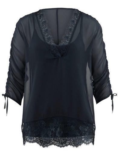 Alba Moda Bluse mit aufwendigem Spitzenbesatz