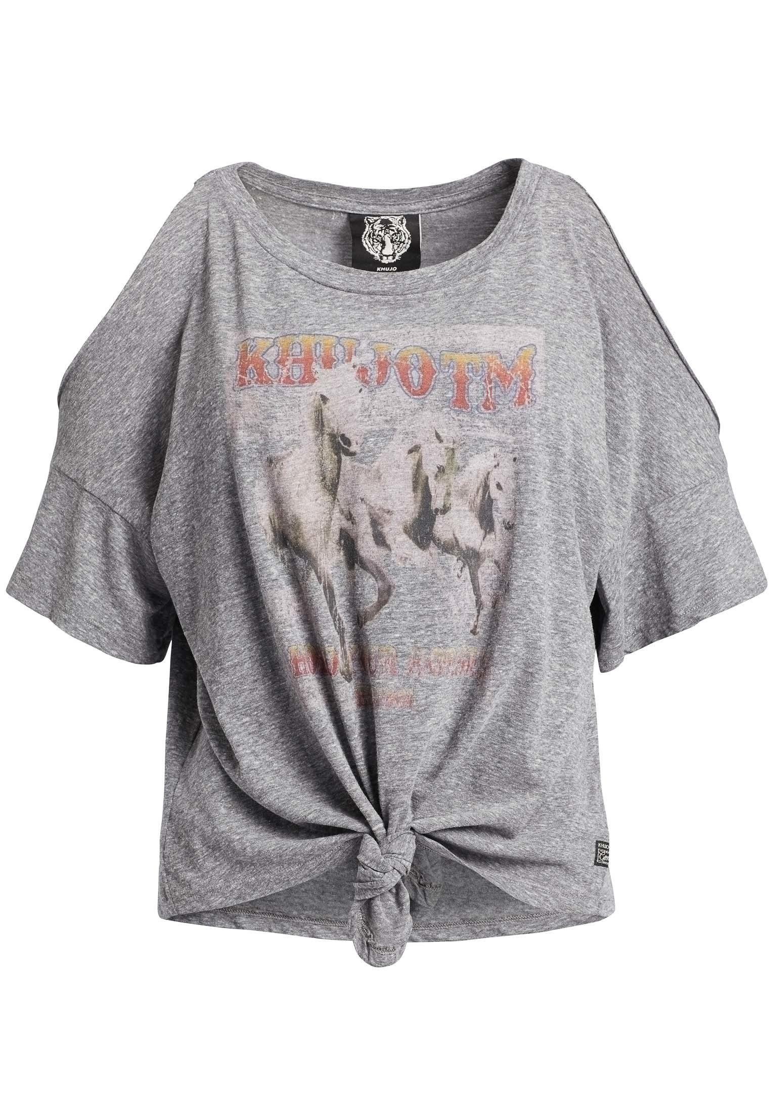 khujo T Shirt »LAKSHMI HORSES« mit offenen Kanten auf den Schultern online kaufen   OTTO
