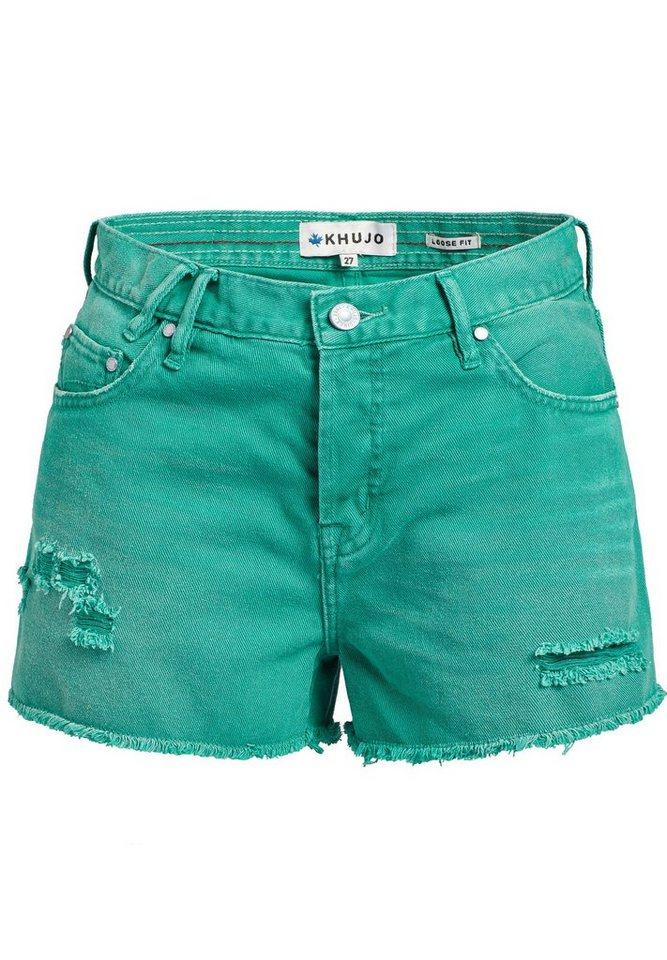 khujo Hotpants »ULINA« mit Destroyed-Details | Bekleidung > Hosen > Hotpants | Grün | khujo