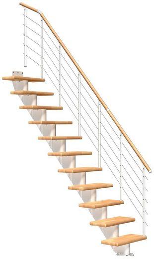DOLLE Mittelholmtreppe »Frankfurt Buche 65«, bis 258 cm, Edelstahlgeländer, versch. Ausführungen