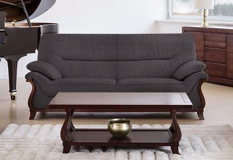 Delavita 3-Sitzer «Matea« mit schön geschwungenem Massivholzgestell | Wohnzimmer > Sofas & Couches > 2 & 3 Sitzer Sofas | Braun | DELAVITA
