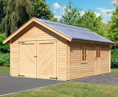 KARIBU Einzel-Garage »Blockbohlen 2«, BxT: 435x572 cm, Einfahrtshöhe: 193 cm