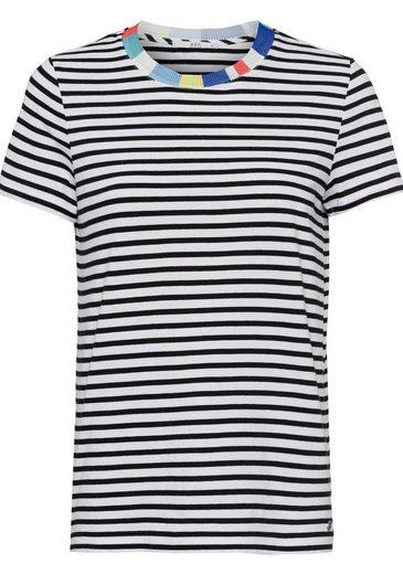 edc by Esprit T-Shirt mit farblich abgesetztem Rippbündchen