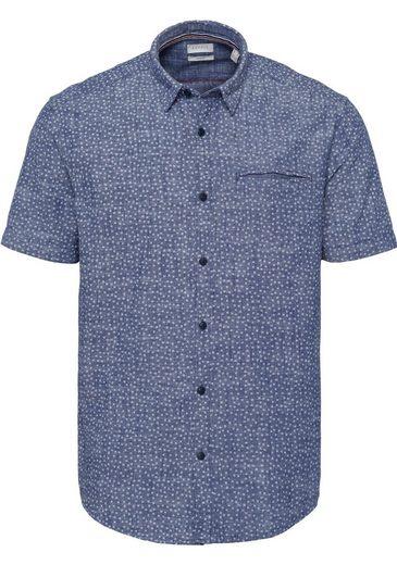 Esprit Kurzarmhemd mit dezentem Alloverprint