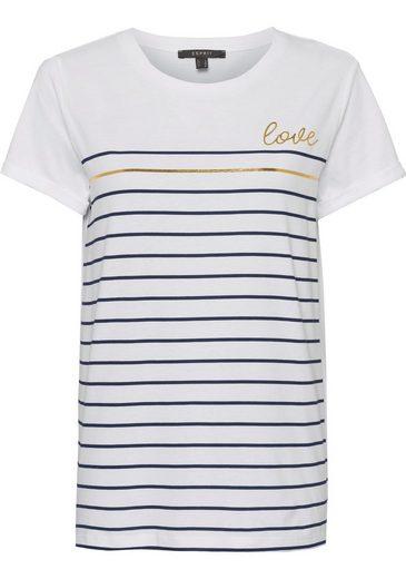Esprit Collection T-Shirt mit Streifenprint in Metallic-Optik