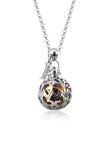Nenalina Kette mit Anhänger »Kugel Ornament Buchstabe B Zirkonia 925 Silber«
