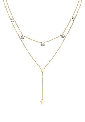 Elli Collierkettchen »Plättchen Layer Swarovski® Kristalle 925 Silber«