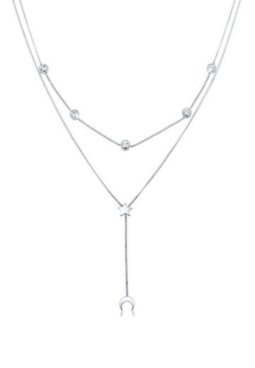 Elli Collierkettchen »Halbmond Stern Swarovski® Kristalle Silber«