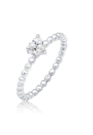 Elli Verlobungsring »Verlobungsring Herz Zirkonia Kristall 925 Silber«