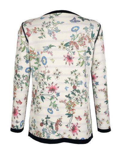 Amy Vermont Wendestrickjacke mit floralem und grafischem Muster