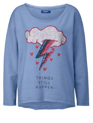 Conleys Blue Sweatshirt mit Paillettenapplikation