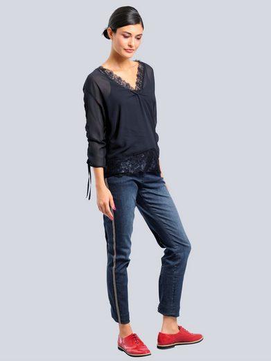 Alba Moda Jeans mit seitlichem Perlenband