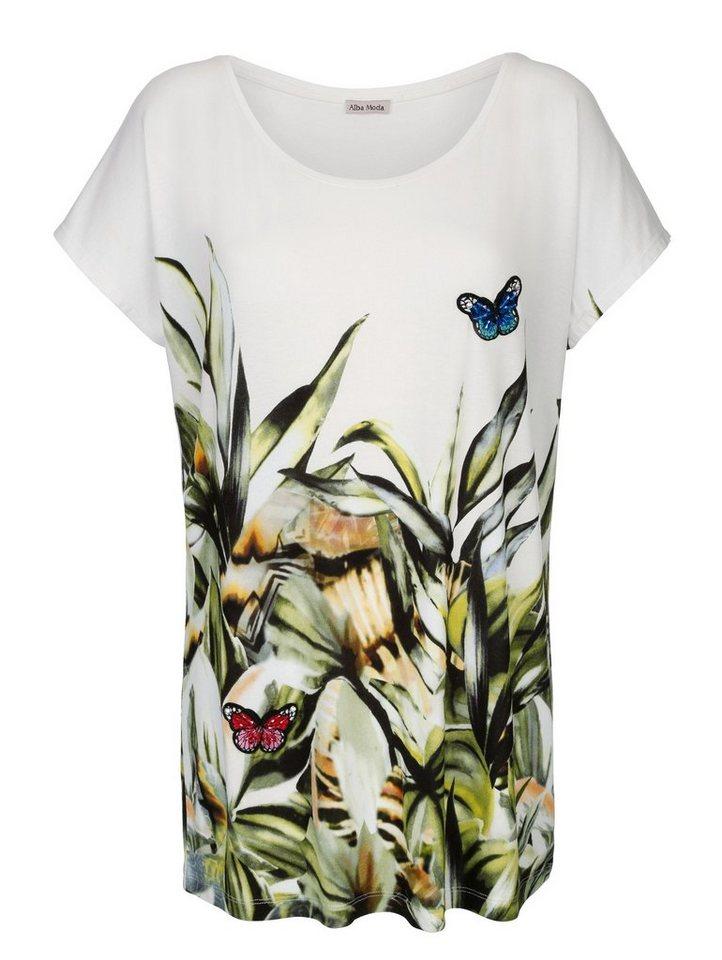 Alba Moda Strandshirt mit applizierten Schmetterlingen