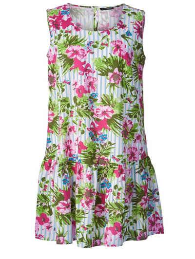 ec6cb092a3a1b9 Sara Lindholm by Happy Size Kleid gestreift mit Blumen-Print