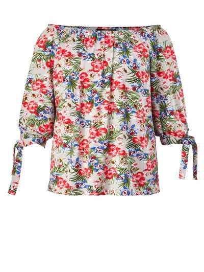 ea85de016863cd Sara Lindholm by Happy Size Shirt mit Blumen-Print und Carmen-Ausschnitt