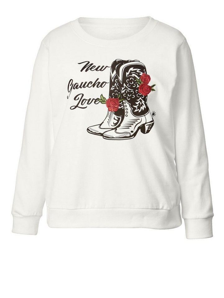 5ff729400e Angel of Style by Happy Size Sweatshirt mit Frontprint und Stickerei ...