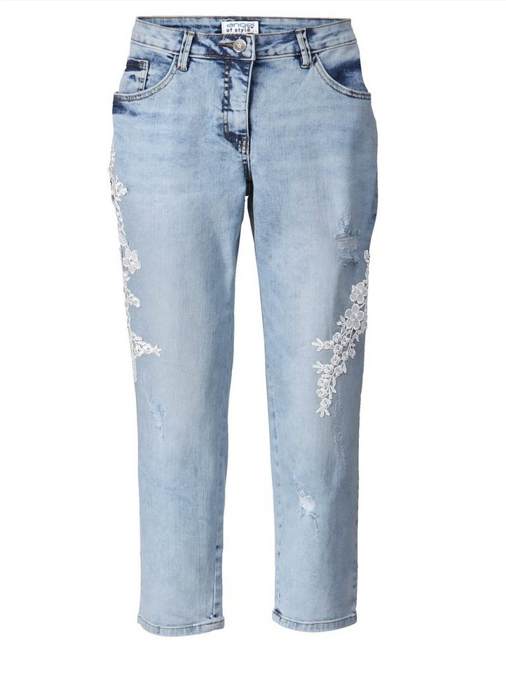 4c648bb2f2 Angel of Style by Happy Size Slim Fit Jeans mit Stickerei knöchellang