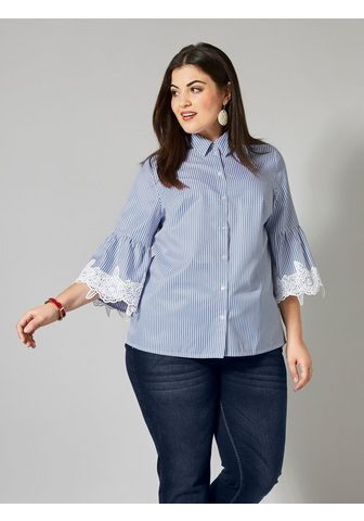 SARA LINDHOLM BY HAPPY SIZE Блуза полосатая с c воланами и кружева...
