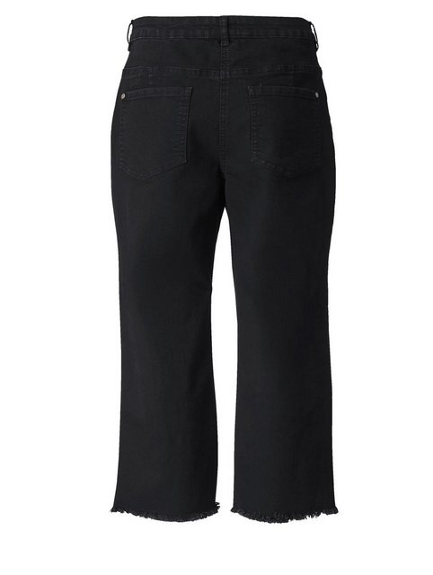 Hosen - Angel of Style by Happy Size Slim Fit Jeans knöchellang mit Fransensaum › schwarz  - Onlineshop OTTO