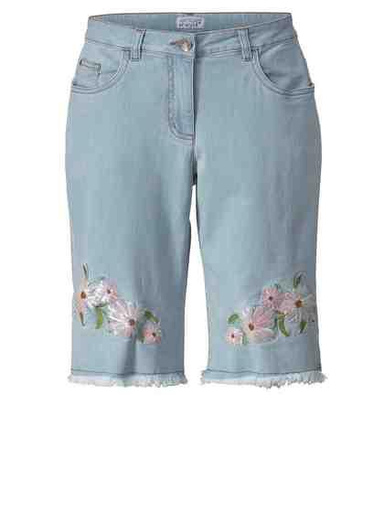 Angel of Style by Happy Size Jeans-Shorts mit Pailletten und Fransensaum
