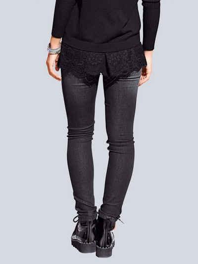Alba Moda Skinny-jeans Mit Kontrastfarbigem Ripsband Denim