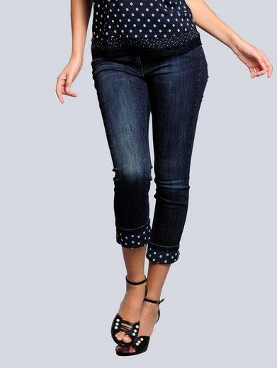 Alba Moda Jeans mit Aufschlag im Tupfendessin