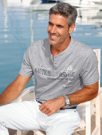 Roger Kent T-Shirt mit Knopfleiste