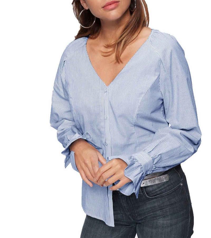 NOA NOA Shirtbluse »NOA NOA Tunika extravagante V-Neck Bluse für Damen mit Mustermix Sommer-Bluse Blau/Weiß«