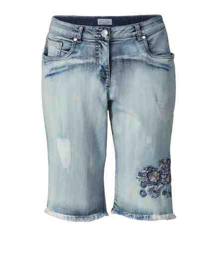 Angel of Style by Happy Size Jeans-Shorts mit Stickerei und Fransensaum