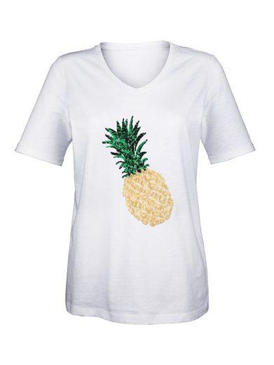 Laura Kent Shirt mit Ananas aus Pailletten im Vorderteil