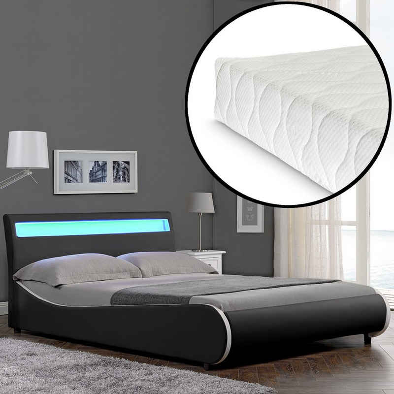 Corium Polsterbett, LED Modernes Polsterbett Matratze 140x200cm Kunst-Leder Schwarz Bett CORIUM