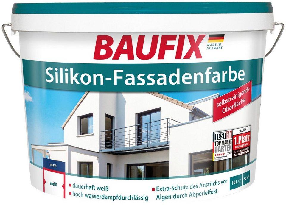 baufix fassadenfarbe silikon fassadenfarbe wei 10 l. Black Bedroom Furniture Sets. Home Design Ideas