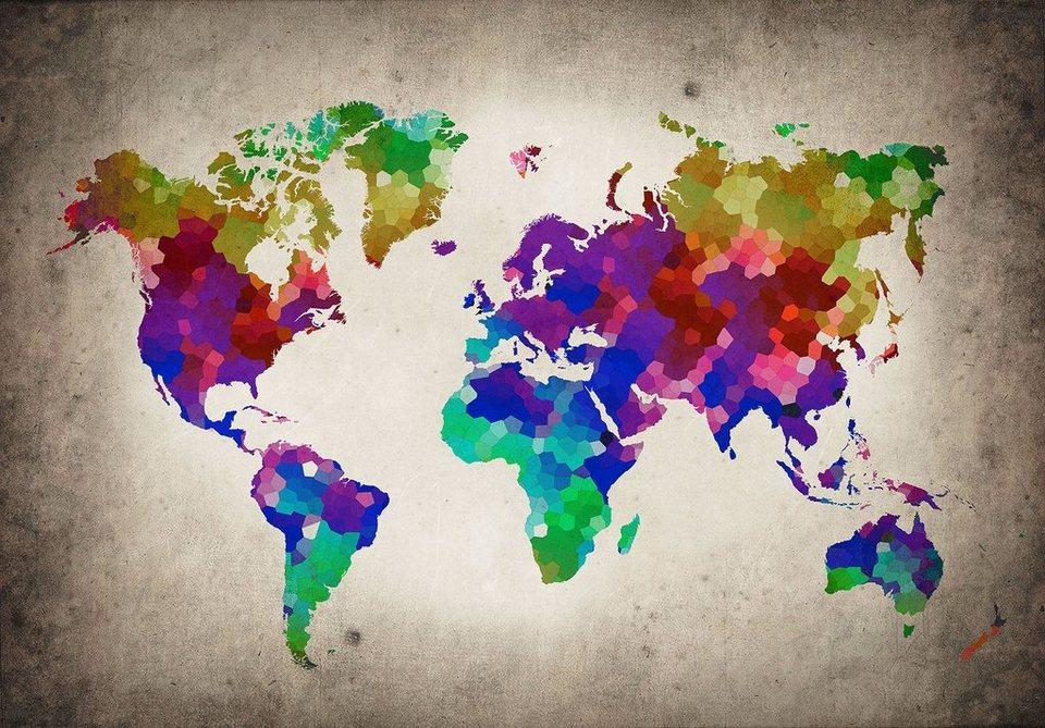 Consalnet Vliestapete Bunte Weltkarte Verschiedene Motivgrößen