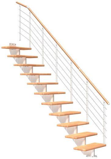 DOLLE Mittelholmtreppe »Hamburg Buche 85«, bis 322 cm, Edelstahlgeländer, versch. Ausführungen
