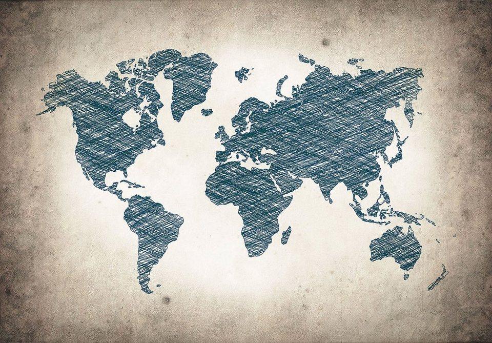 Consalnet Vliestapete Graue Weltkarte Verschiedene Motivgrößen