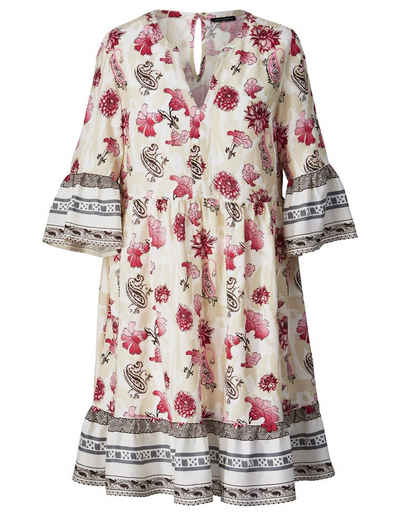 3150538e2fd309 Sara Lindholm by Happy Size Kleid mit Blumen-Print und Volants