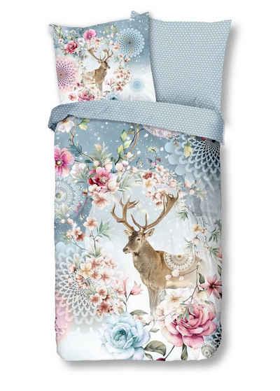 Bettwäsche »Feinbiber«, Traumschloss, winterlicher Hirsch mit Mandalas