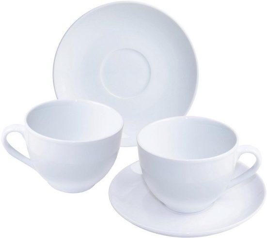nurso Cappuccinotasse »Mona«, Porzellan, 4 Tassen, 4 Untertassen