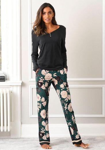 s.Oliver Bodywear Pyjama, mit geblümter Schlafhose