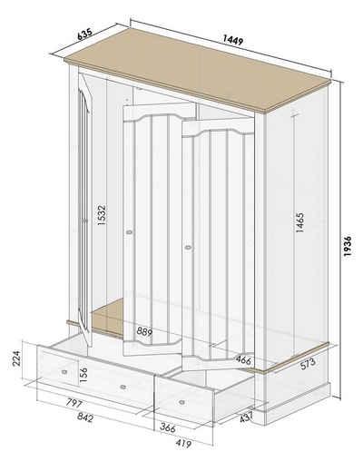 Home affaire Drehtürenschrank »Teverton« aus FSC®-zertifiziertem Holzwerkstoff