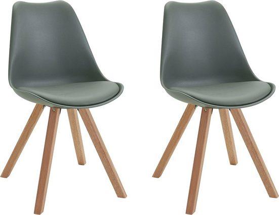 Homexperts Esszimmerstuhl »Kaja« (Set, 2 Stück), Sitzschale mit Sitzkissen in Kunstleder