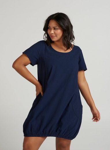 Zizzi Blusenkleid Damen Weiches Kleid Knielang Kurzarm Basic Sommerkleid Große Größen