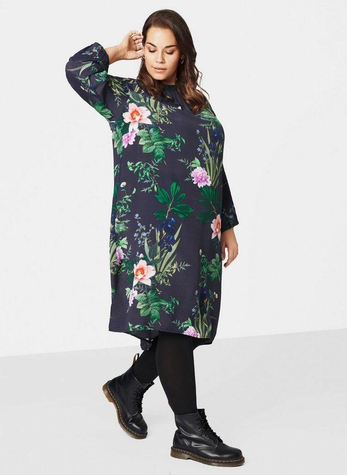 best sneakers bc42c 10a69 Zizzi Blusenkleid Damen Knielang Kleid Langarm Geblümtes Blumenmuster Große  Größen online kaufen | OTTO