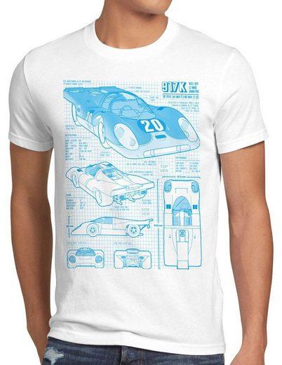 style3 Print-Shirt Herren T-Shirt 917K Le Mans 24stunden rennen 997 996 gt2 918 914 916 924 mcqueen